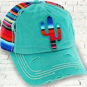 Turquoise Cactus Serape Hat w/ Distressed Look